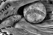 Baseball Closeup Photo Metal Prints - Worn In BW Metal Print by JC Findley