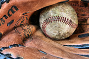 Baseball Closeup Photo Metal Prints - Worn In Metal Print by JC Findley