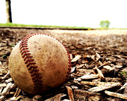 Baseball Seams Photo Metal Prints - Worn Out Metal Print by Ciera Fleming