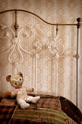 Bed Quilt Posters - Worn Teddy Bear on Brass Bed Poster by Jill Battaglia