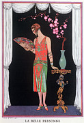 Fan Metal Prints - Worth evening dress fashion plate from Gazette du Bon Ton Metal Print by Georges Barbier