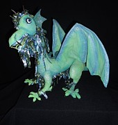 Cloth Doll Sculptures - Worthington The Winged Water Dragon by Amanda Machin