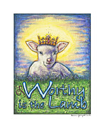 Jesus Sculpture Prints - Worthy is the Lamb Print by Andrea Gray