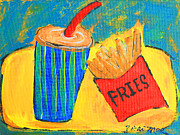 Fries Painting Framed Prints - Would You LiKe Fries with That? Framed Print by Vicki Mae