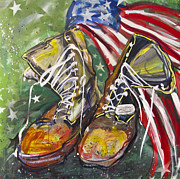 Usa Flag Mixed Media Originals - Wounded Warriors by Mary Gallagher-Stout
