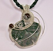 Jordan Jewelry - Woven Double-Trilobite Fossil and Garnet Pendant - All Swept Up by Heather Jordan