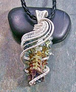 Jordan Jewelry - Woven Wire Bismuth Crystal Pendant in Silver Rainbow Wave by Heather Jordan
