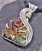 Jordan Jewelry - Woven Wire Bismuth Crystal Pendant in Silver- Sunset by Heather Jordan
