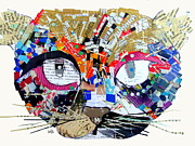 Cat Portraits Mixed Media Prints - Wowza Print by Brian Buckley