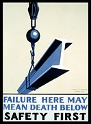 Failure Framed Prints - WPA Vintage Safety First Framed Print by Wpa