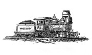 Railroad Drawings - W.P.C..R. Loco by Sam Sidders