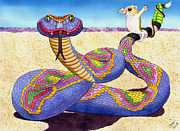 Kangaroo Paintings - Wrangled Razzle Dazzle Rainbow Rattler by Catherine G McElroy