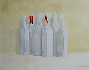 Red Wine Bottle Painting Posters - Wrapped Bottles Number 2 Poster by Lincoln Seligman