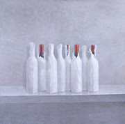 Cellar Painting Framed Prints - Wrapped bottles on grey 2005 Framed Print by Lincoln Seligman