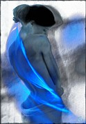 Fractal Flame Prints - Wrapped in blues Print by Gun Legler