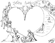 Christianity Drawings - Wrapped in the arms of His love by Dawna Morton