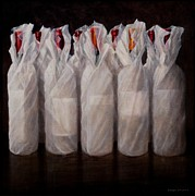 Booze Prints - Wrapped Wine Bottles Print by Lincoln Seligman