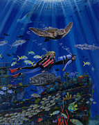 Tropical Fish Posters - Wreck Divers Re0014 Poster by Carey Chen