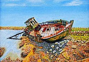 Wrecked Paintings - Wrecked Fishing Boat by David Wetzel