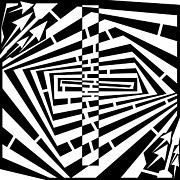Illusory Drawings - Wrecked Rectangle Maze  by Yonatan Frimer Maze Artist