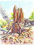Brick Buildings Drawings Prints - Wrecking Ball Print by Kip DeVore