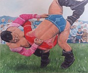 Wrestling Painting Originals - Wrestling by Jacob Brandt-Moeller