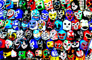 Wrestling Masks Of Lucha Libre Altered Print by Jim Fitzpatrick