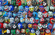 Jim Fitzpatrick Prints - Wrestling Masks of Lucha Libre Print by Jim Fitzpatrick