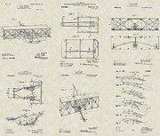 Flyer Drawings Posters - Wright Brothers Aircraft Patent Collection Poster by PatentsAsArt