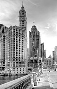 Black-and-white Framed Prints - Wrigley and Tribune Framed Print by Scott Norris