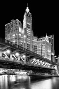 Chicago Black White Posters - Wrigley Building at Night in Black and White Poster by Sebastian Musial