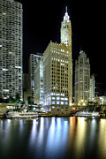 Light Art - Wrigley Building at Night  by Sebastian Musial