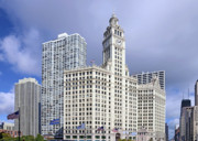 Urban Scenes Posters - Wrigley Building Chicago Poster by Christine Till