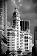 Clock Posters - Wrigley Building Chicago Illinois Poster by Christine Till
