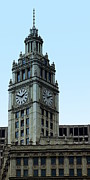 Large Clock Prints - Wrigley Building Clock Tower Print by Greg Thiemeyer
