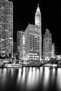 Night Art - Wrigley Building Reflection in Black and White by Sebastian Musial