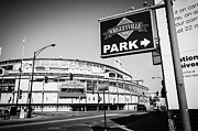 Cubs Baseball Park Prints - Wrigley Field and Wrigleyville Signs in Black and White Print by Paul Velgos