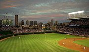 Baseball Game Framed Prints - Wrigley Field at Dusk Framed Print by John Gaffen