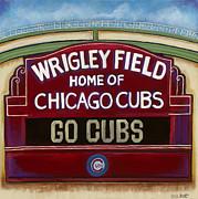 Baseball Art Print Painting Metal Prints - Wrigley Field Metal Print by Carla Bank