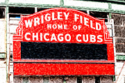 Ballpark Digital Art Framed Prints - Wrigley Field Chicago Cubs Sign Digital Painting Framed Print by Paul Velgos