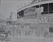Wrigley Field Drawings - Wrigley Field by Dave Smith