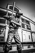 Baseball Bat Photo Metal Prints - Wrigley Field Ernie Banks Statue in Black and White Metal Print by Paul Velgos