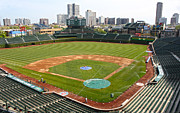 Major League Baseball Framed Prints - Wrigley Field in Green Framed Print by David Bearden