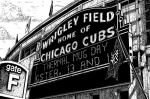 Buildings Drawings Prints - Wrigley Field Marquee Print by Bruce Kay