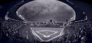 Baseball Game Framed Prints - Wrigley Field Night Game Chicago BW Framed Print by Steve Gadomski