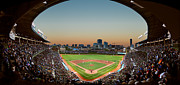 Game Photo Posters - Wrigley Field Night Game Chicago Poster by Steve Gadomski