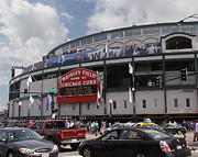 Cubs Baseball Park Prints - Wrigley Field Print by Paul Anderson