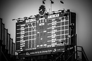 Wrigley Field Framed Prints - Wrigley Field Scoreboard Sign in Black and White Framed Print by Paul Velgos