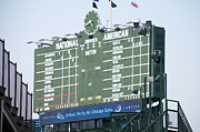 Chicago Cubs Field Framed Prints - Wrigley Field Scoreboard Sign Framed Print by Paul Velgos