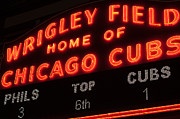 Chicago Cubs Field Framed Prints - Wrigley Field Sign at Night Framed Print by Paul Velgos